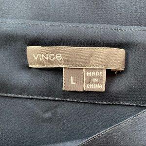 Vince Tops - Vince Long Sleeve Silk Top, Sz L, Navy Blue